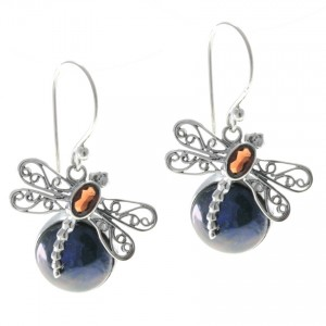 Silver Peacock Pearl Dragon Fly Earrings