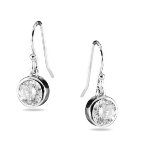 Silver Bezel Set Cz Drop Earrings