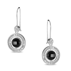 Silver CZ and Checkerboard Onyx Designer Earrings