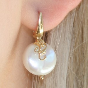 9K Yellow Gold Filigree Coin Pearl Earrings
