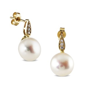 9K Yellow Gold Pearl And Cz Studs