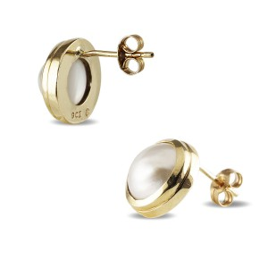 9K Yellow Gold Mabe Pearl Stud Earrings