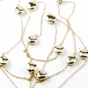 Silver yellow Gold Plate Gold Nuggets and Chain Necklace
