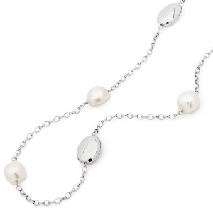 925 Sterling Silver and Baroque Pearl Nugget Necklace