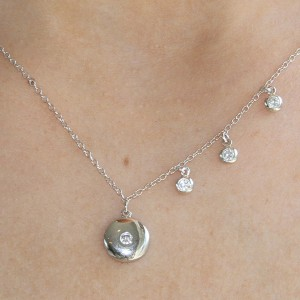 Multi Circle Drop cz Necklace