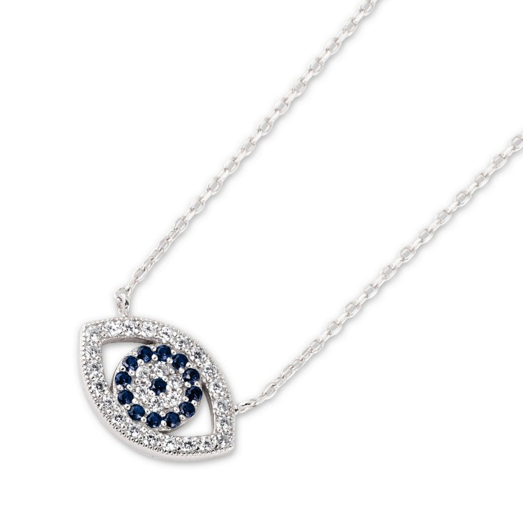 Silver Greek Evil Eye necklace