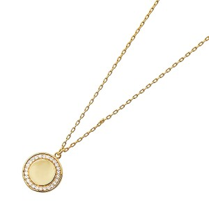 Silver yellow gold Plate Dainty Disc CZ Necklace and Pendant