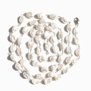14K yellow gold filled Keshi Pearl Necklace