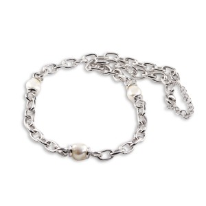 925 Sterling Silver Natural Irregular baroque Pearl Necklace