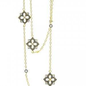 925 Sterling Silver yellow gold Plate Great Gatsby Necklace