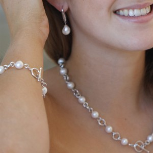 925 Sterling Silver Natural Pearl T-bar Necklace
