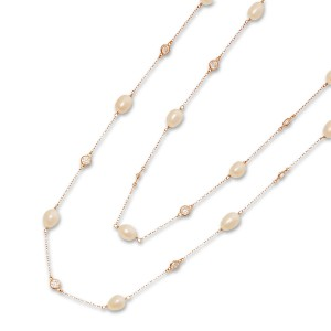 Silver Rose Gold Plate Pearl and Cubic Necklace