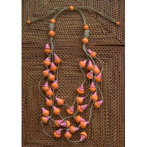 Timber Pumpkin and Pink Gumnut Necklace