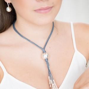 Tear Drops of Joy Grey Cord Necklace