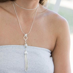 Long Drop Orb and Tassel Necklace