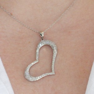 925 Sterling Silver pave set Heart Pendant
