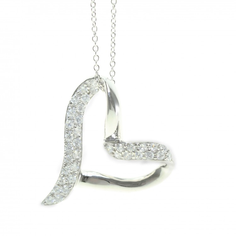 925 Sterling Silver and CZ Contemporary Love Heart Pendant