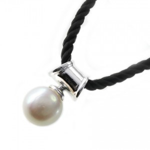 Baroque Pearl on 925 Sterling Silver Bale and Black Silk Cord Necklace
