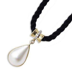 South Sea Pearl and Diamond Pendant 9k yellow gold