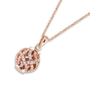 Silver Rg Plate Cubic Encrusted Ball Necklace