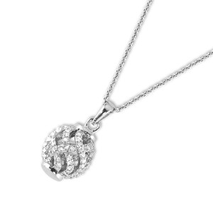 Silver Cubic Encrusted Ball Necklace