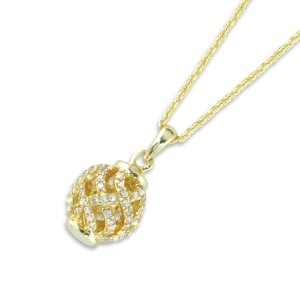 Silver Yg Plate Cubic Encrusted Ball Necklace