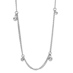 Sterling Silver Double Chain And Bezel Set Cubic Necklace