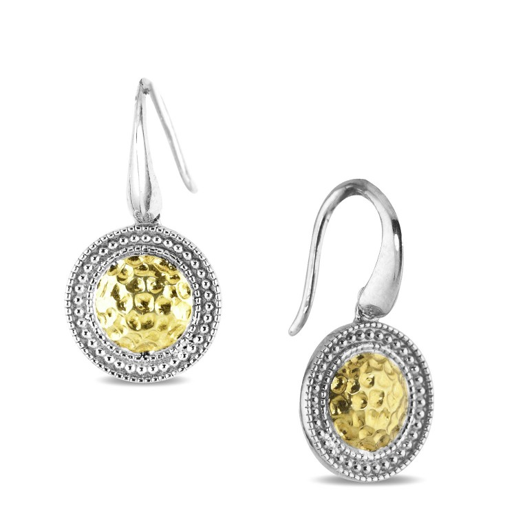 Silver Yellow Gold Two Tone Beed Set Earrings