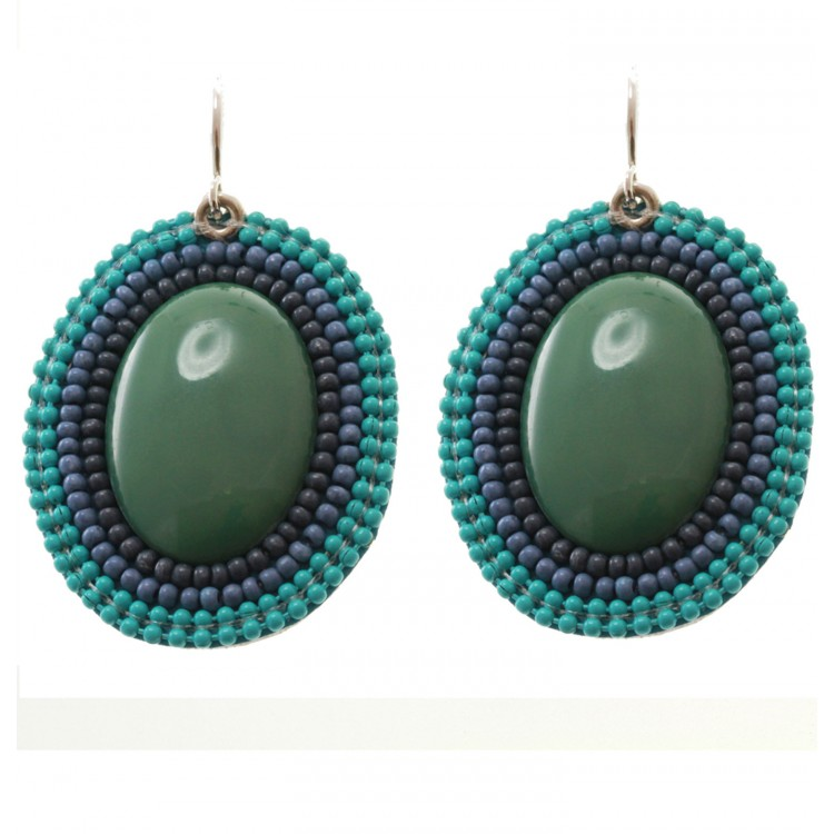Island Green Bead Drop Earrings