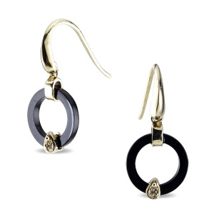 9K Gold Onyx Diamond Earrings