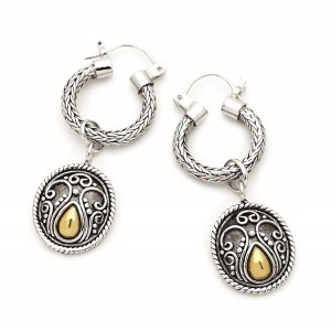 Silver And Gold Oxidised Boho Earrings