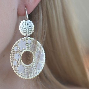 Glamorous Italian Long Drop 925 Sterling Silver Circle Earrings