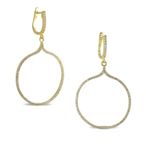 Round Formal 925 Sterling Silver Yellow Gold CZ Encrusted Huggie Earrings