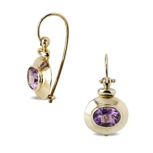 9k Gold and Amethyst hinged earrings