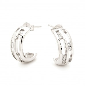 Designer Channel Set Sterling Silver Rail Earrings