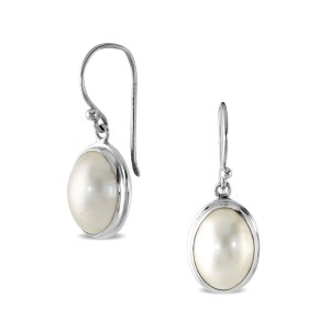 Silver South Sea Mabe Pearl Earrings