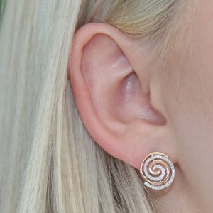 9K Rose Gold Diamond Swirl Studs