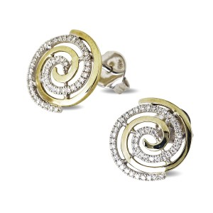 9K Yellow Gold Diamond Swirl Studs