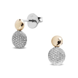 9K Rose Gold Diamond Pave Studs