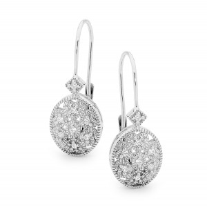 Silver Cz Bead Set Euro Wire Earrings