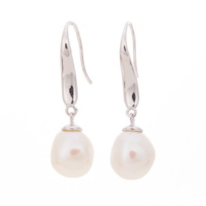 Silver natural Irregular freshwater Baroque Pearl Drop Earrings