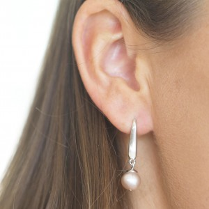 Silver Pink Pearl Drop Earrings