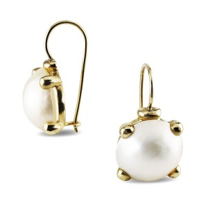 9K Yellow Gold Mabe Pearl Earrings