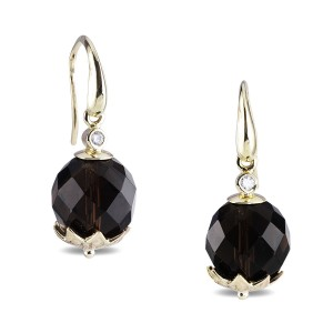9K Yellow Gold Smokey Quartz Earrings