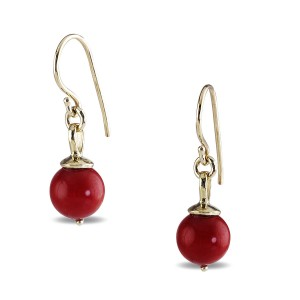 9K Yellow Gold Red Coral Earrings