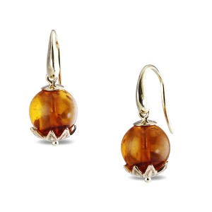 9K Yellow Gold Amber Earrings