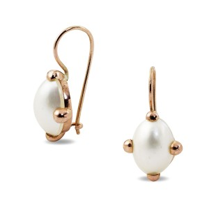9K Rose Gold Oval Mabe Pearl Earrings