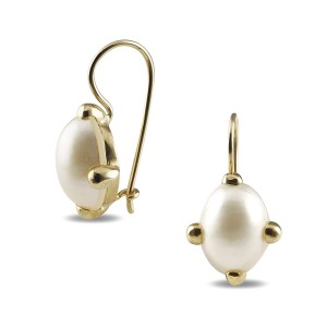 9K Yellow Gold Oval Mabe Pearl Earrings