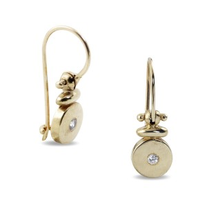 9K Yellow Gold Cubic zirconia Disc Earrings