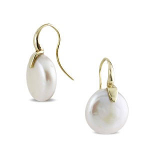 9k Yellow Gold Coin Pearl Earrings